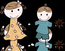 La petite fille Badiane et un petit gar�on Badiane main dans la main.